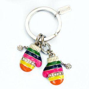 Coach Legacy Stripe Multi-Color Mitten Keychain
